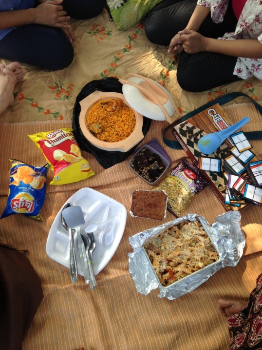 The view from the top - Pasta bake, biryani, chips and two types of cakes!